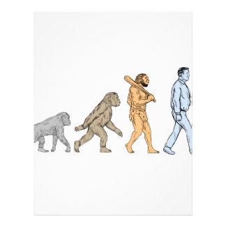 Human Evolution Walking Drawing Letterhead