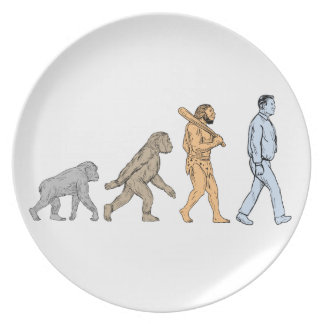 Human Evolution Walking Drawing Plate