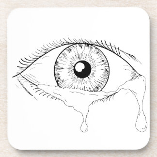 Human Eye Crying Tears Flowing Drawing Coaster