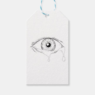 Human Eye Crying Tears Flowing Drawing Gift Tags