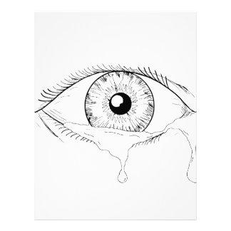 Human Eye Crying Tears Flowing Drawing Letterhead