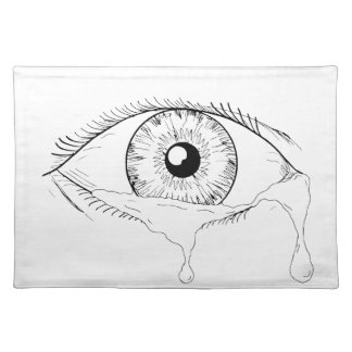 Human Eye Crying Tears Flowing Drawing Placemat