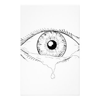 Human Eye Crying Tears Flowing Drawing Stationery