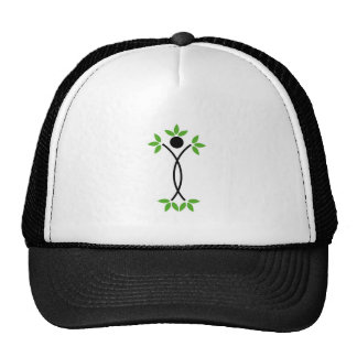 Human figure with green leaves trucker hat