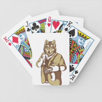 human germane dog drinking bicycle playing cards