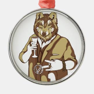 human germane dog drinking metal ornament
