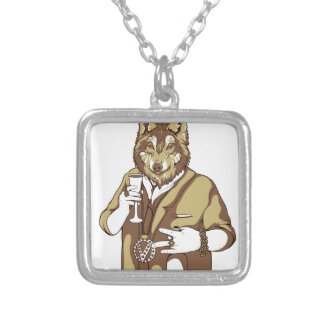 human germane dog drinking silver plated necklace