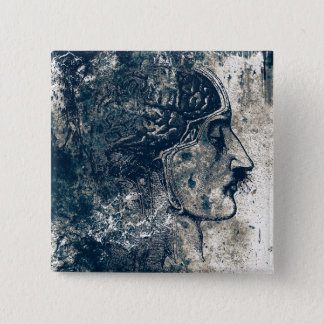 Human Head Anatomy 2 Inch Square Button