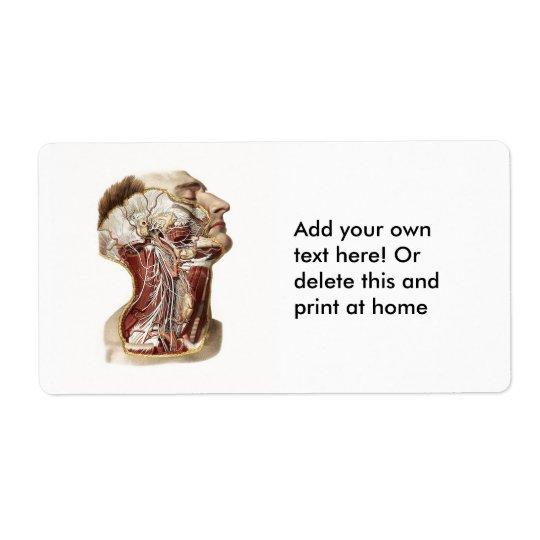 Human Head Anatomy Design Shipping Label