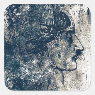 Human Head Anatomy Square Sticker