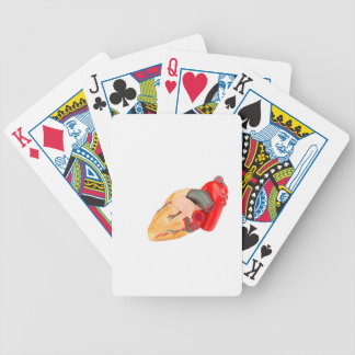 Human heart model isolated on white background bicycle playing cards