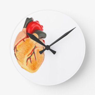 Human heart model on white background clock
