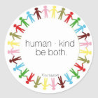 human · kind classic round sticker