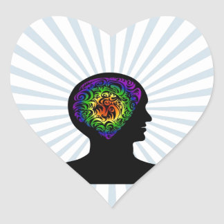 human mind heart sticker