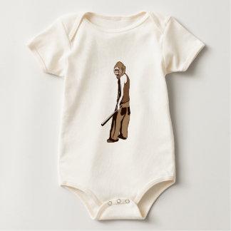 human monkey with stick baby bodysuit