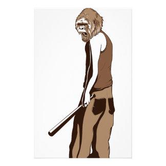 human monkey with stick custom stationery