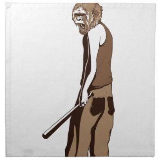 human monkey with stick napkin