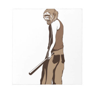 human monkey with stick notepad