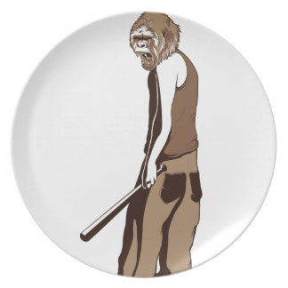 human monkey with stick plate