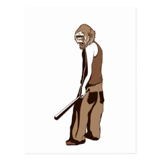 human monkey with stick postcard