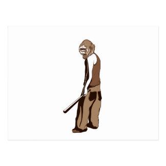 human monkey with stick postcard