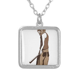 human monkey with stick silver plated necklace
