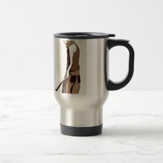 human monkey with stick travel mug