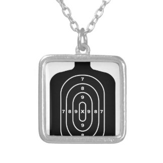 Human Shape Target Silver Plated Necklace