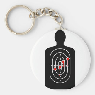Human Shape Target With Bullet Holes Basic Round Button Keychain