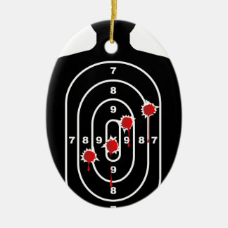 Human Shape Target With Bullet Holes Ceramic Oval Ornament