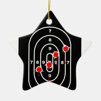 Human Shape Target With Bullet Holes Ceramic Star Ornament
