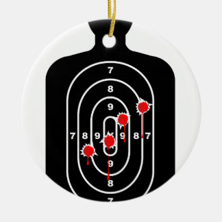 Human Shape Target With Bullet Holes Round Ceramic Ornament