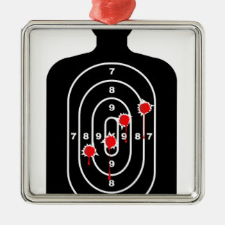 Human Shape Target With Bullet Holes Silver-Colored Square Ornament