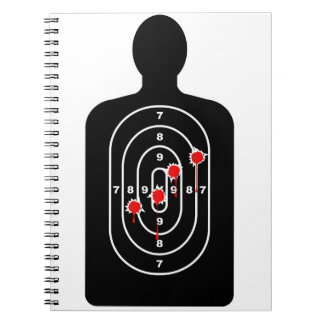 Human Shape Target With Bullet Holes Spiral Notebook