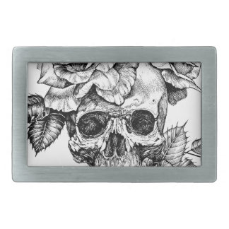 Human skull and roses black ink drawing belt buckles
