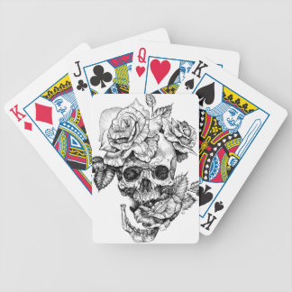Human skull and roses black ink drawing bicycle playing cards
