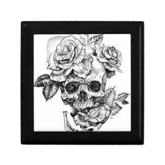 Human skull and roses black ink drawing gift box