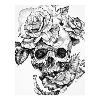 Human skull and roses black ink drawing letterhead