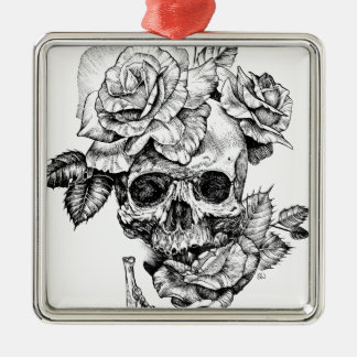 Human skull and roses black ink drawing metal ornament