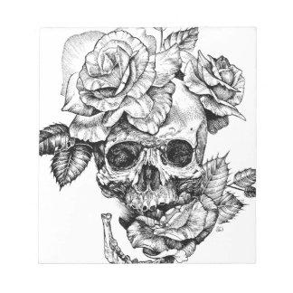 Human skull and roses black ink drawing notepad