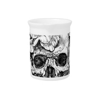 Human skull and roses black ink drawing pitcher