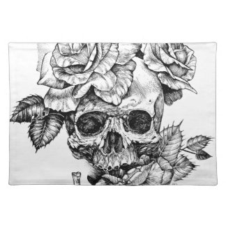 Human skull and roses black ink drawing placemat