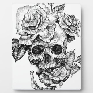 Human skull and roses black ink drawing plaque