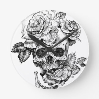 Human skull and roses black ink drawing round clock
