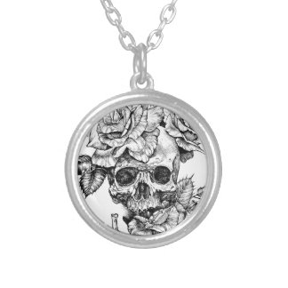 Human skull and roses black ink drawing silver plated necklace