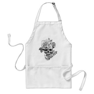 Human skull and roses black ink drawing standard apron