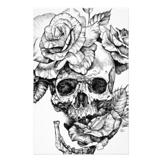 Human skull and roses black ink drawing stationery