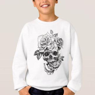 Human skull and roses black ink drawing sweatshirt