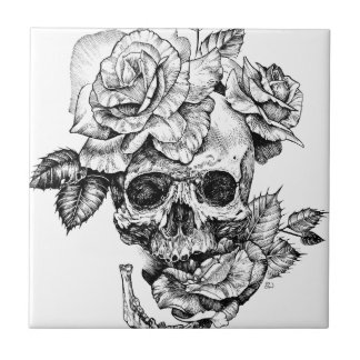 Human skull and roses black ink drawing tile