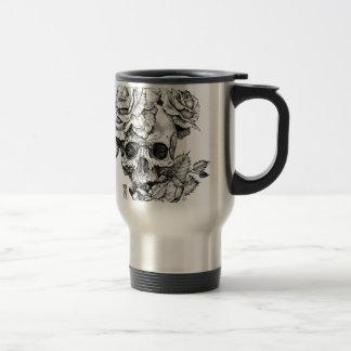 Human skull and roses black ink drawing travel mug